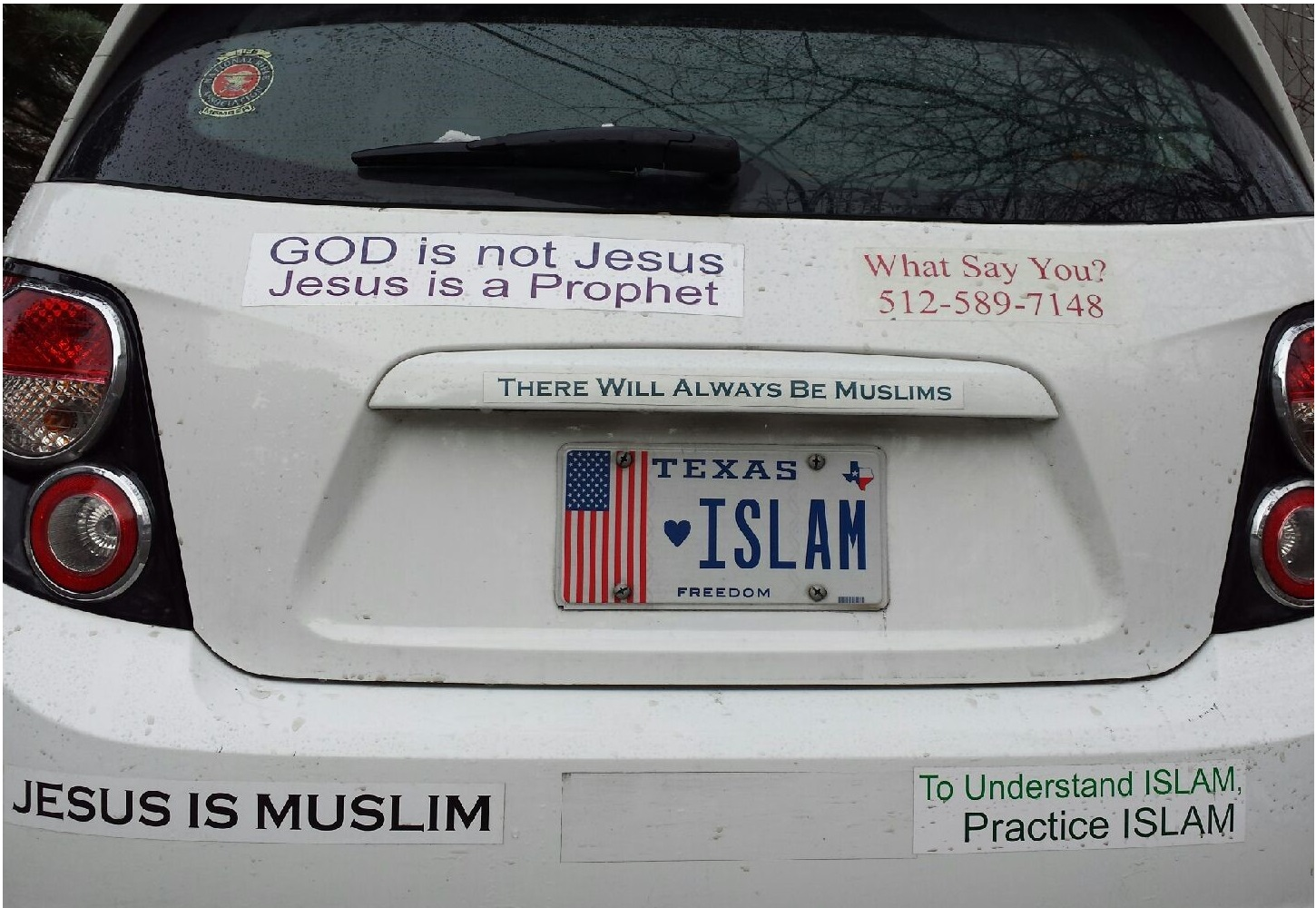 God is not Jesus, Jesus is a Prophet; What say you 512-589-7148; There will Always Be Muslims; Jesus is Muslim; To understand Islam, practice Islam.